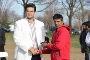 Prashant Nair receives his medal, he had a tournament high 8 wickets