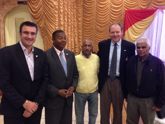 From left to right, ICC's Global Development Manager Tim Anderson, New York State Senator James Sanders, Eastern American Cricket Association President Rudy Persaud, USAC CEO Darren Beazley, and USACA Director Krish Prasad. Photo by Dyon Ravello