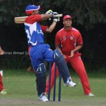 US Under-19 Waqas Shah hooks while batting during World Cup Qualifiers in King City Canada 2013 - photo by Salman Ahmad