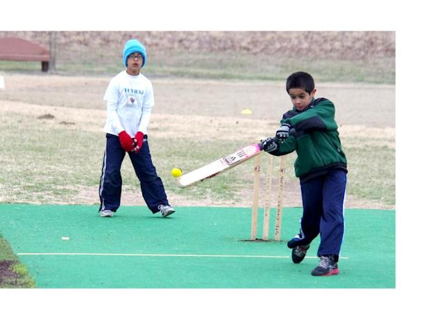 Youth Cricketer Play an expansive shot during the recently completed National Youth Cricket Day hosted by the Missouri Youth Cricket Association