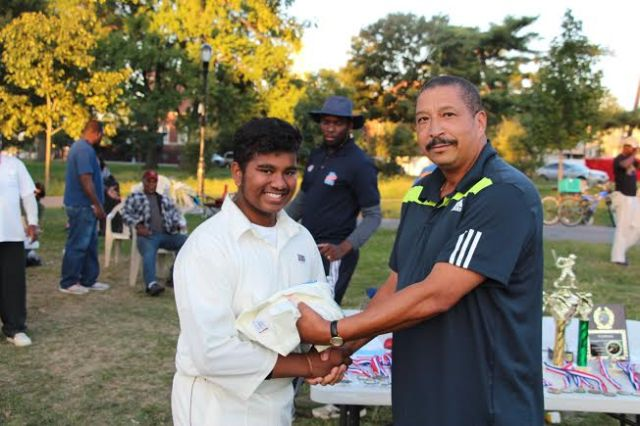 USA U-17 Manager Bassett Thompson presented CLPUSA U-15 Captain with his Team Naming Contest Prize